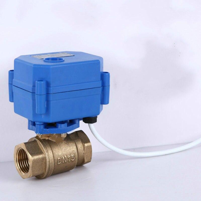 Vanne à boisseau sphérique motorisée DN15-DN32 trois lignes vanne électrique de contrôle unidirectionnel 220 v