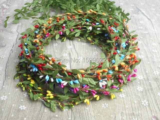 14 teile/los Einfache Pip Beeren Stem Rattan Haar Reif Green Leaf Schwanz Quaste Fee Halo Rustikalen Hochzeit Urlaub Stirnbänder