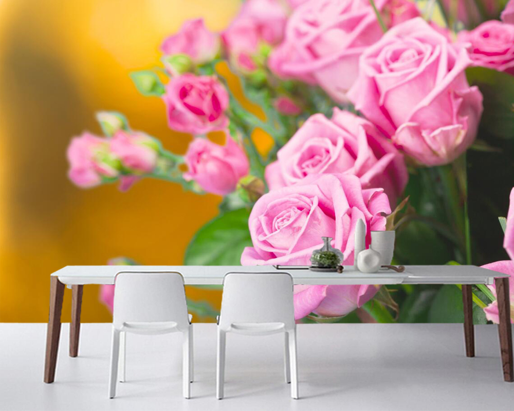 Roses Pink Color Flowers Photo Wallpaper Papel De Paredeliving Room