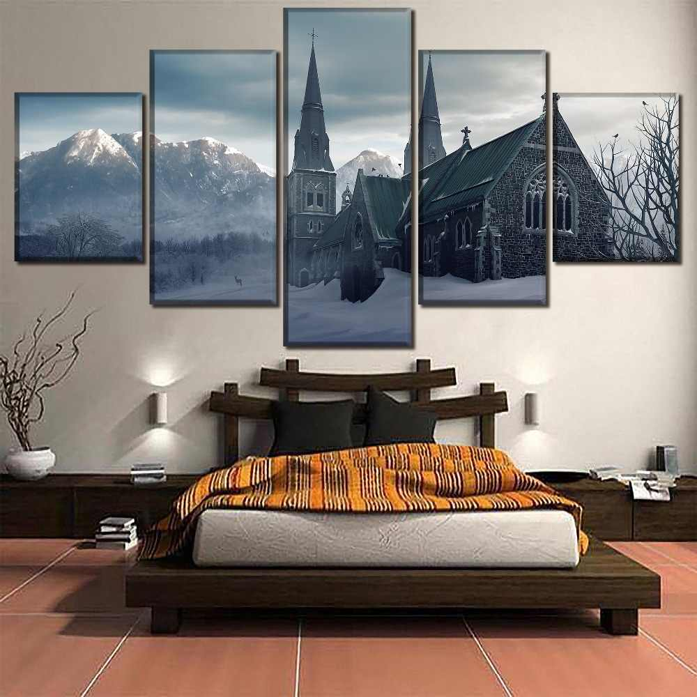 One Set Canvas Printed Painting Wall Art Decor Framework 5 Piece Religious Church Poster For Modern Living Room Home Decor