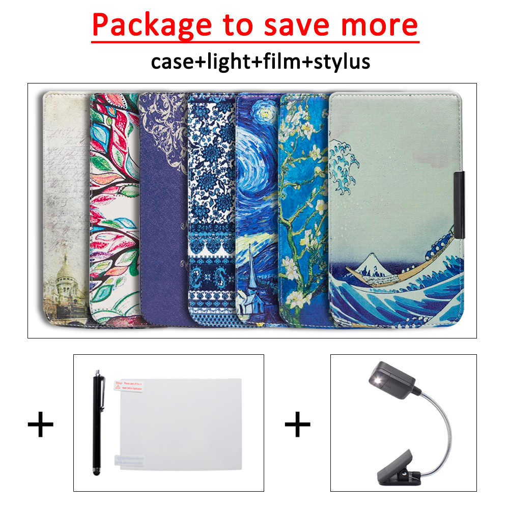 Funda Case For Pocketbook 625 614 615 624 626 626 Plus PU Leather Cover Case +LED Book Light+ Protective Film+stylus
