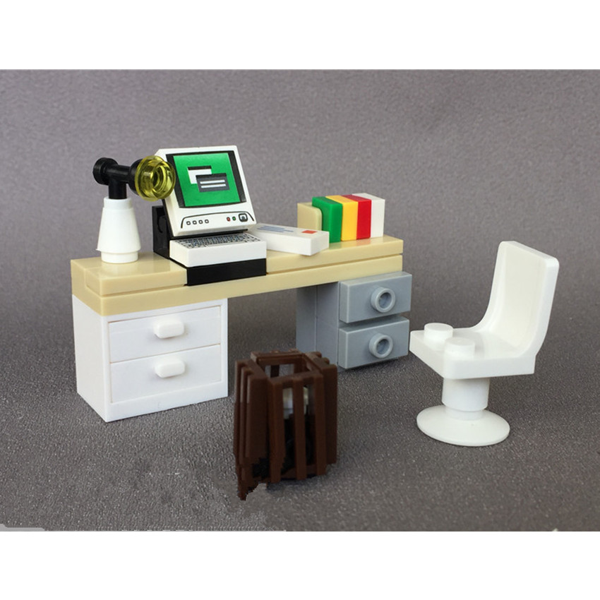 Single City Accessories MOC Bricks DIY Desk Table For Office Computer Book Building Blocks Furniture Toys For Children