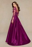 Innovative robe de soiree V Neck Plum Beige Vestid de Festa Evening gown 3/4 Sleeves Lace 2018 Mother of the Bride Dresses