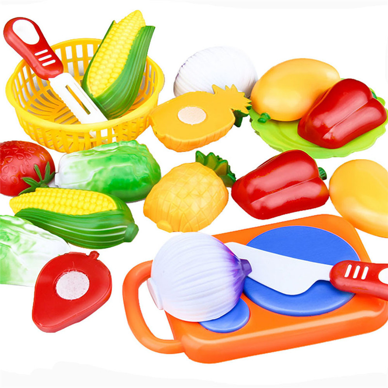 12 шт. Пластик Кухня претендует игрушки резки фрукты овощи Еда Корзина детей роль играют образовательные Кухня игрушки для детей ...