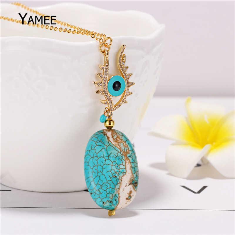 ייחודי עין רעה תליון שרשרת כחול ירוק טבעי אבן טורקיז ארוך שרשרת אופנה זהב שרשרת שרשרת לנשים תכשיטים