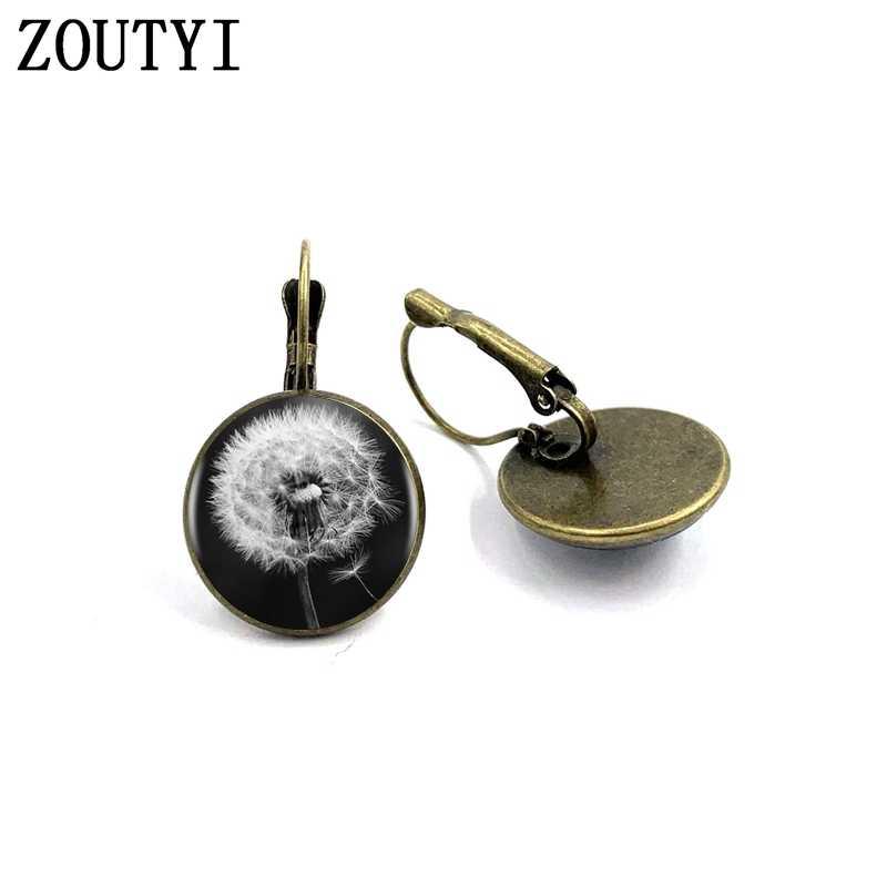 Nowy/moda dmuchawiec Logo kolczyki czarny biały moda Handmade Art wklęsłe szkła w stylu Vintage srebrny biżuteria kobiety kolczyki.