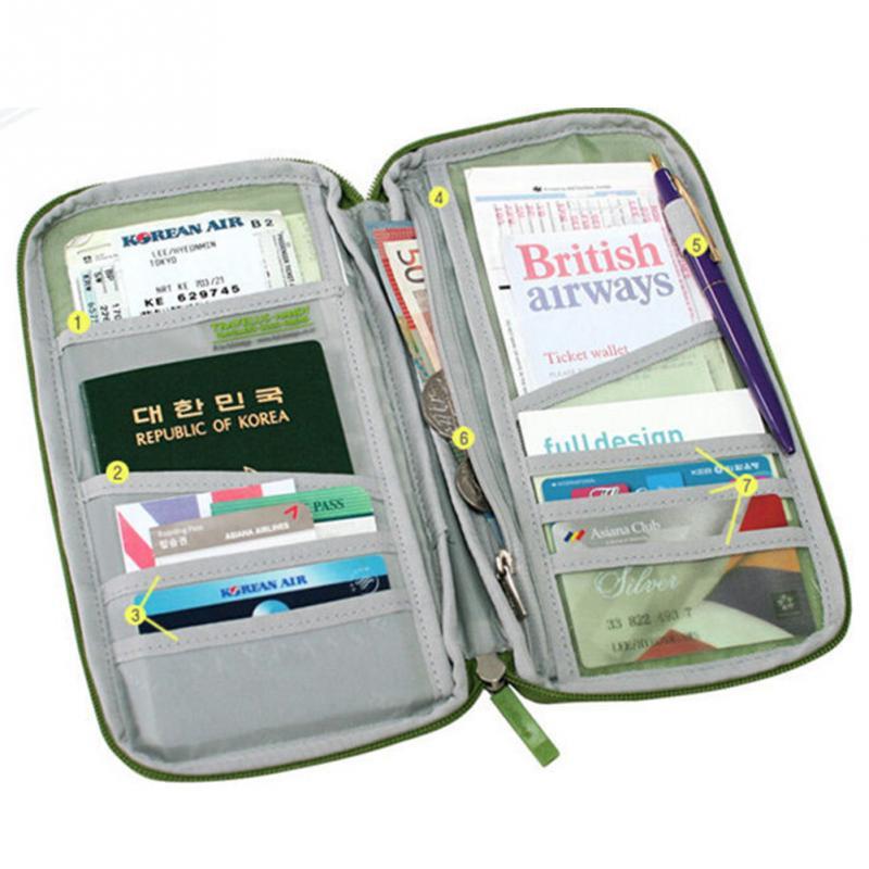 Fashion Travel Passport Credit ID Card Holder Cash Wallet Organizer Bag Purse Wallet Zipper  Multi Layer 7 Colors To Choose