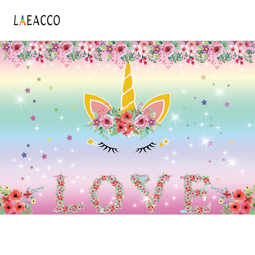 Laeacco Sweet Unicorn Party Flower Decor Glitter Star Baby Photo - Cámara y foto