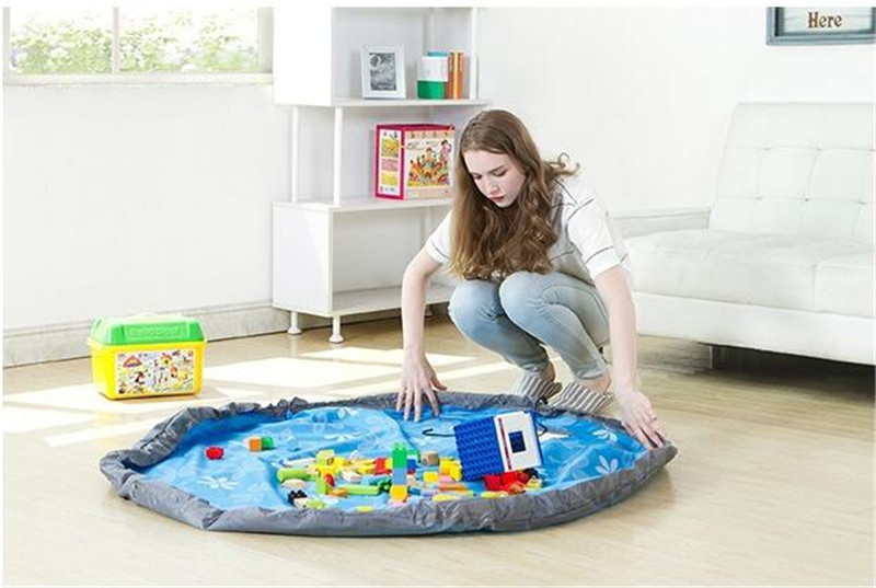 Portable Practical Foldable Kids Toy Storage Bag Play Mat Lego Toys Organizer Blanket Rug Box outside Picnic Bags 80cm 150cm
