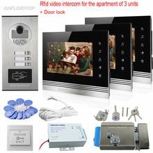 """Rfid 3 кнопки вызова домофон видео """" Цветные видео домофоны домашний телефон для 3 домофон для квартиры система комплект с электронным замком"""