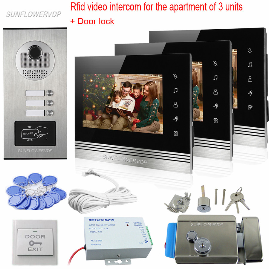 Rfid 3 Call Keys Intercom Video 7 Color Video Doorphones Home Phone For 3 Apartments Intercom System Kit With Electronic Lock sunflowervdp 2 call buttons intercom for the house video door phone for 2 apartments floors videophone with home wire video call