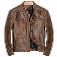 HARLEY DAMSON Brown Men Genuine Motorcycle Leather Jacket Plus Size XXXXXL Thick Cowhide Slim Fit Russian Riding Leather Coat