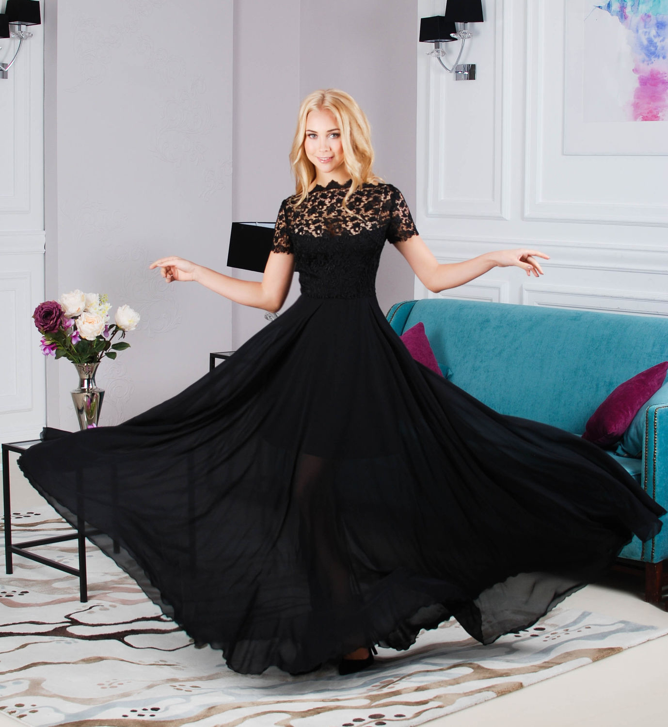 2018 New Sexy Women Black Lace Dress Short Sleeve A-line Sexy Party Dress Plus Size S--4XL Beauty Dance Wear Floor-length
