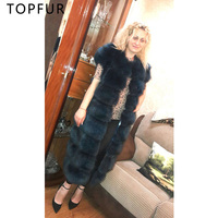 TOPFUR Navy Blue Solid Real Fur Fox Coat Luxury Female Fur Plus Size Jacket Women Winter Casual Thick Fur Fox With Hood