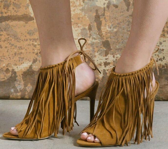 Drop Shipping Summer Women Yellow Black Solid Color Fringed Tassel Peep Toe Lace Up Back Stiletto Heel Dress Party Pumps Lady vintage fringed solid color denim skirt for women
