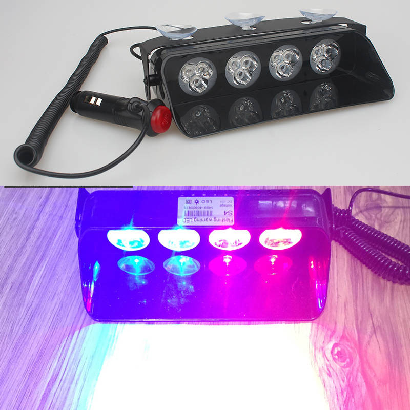 Car Windshield Led Strobe Light Red Blue Amber White S4 Viper Flash Signal Emergency Fireman Police Beacon Warning Light 360 degree rotation demo 4 led red blue police car light for 1 10 r c car red white blue