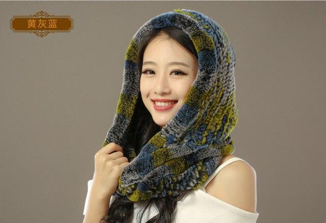 Wholesale 100% Top Quality Muslims Design High Fashion Genuine Rex Rabbit Fur Hats Scarves Set For Women Chapeus Free Shipping