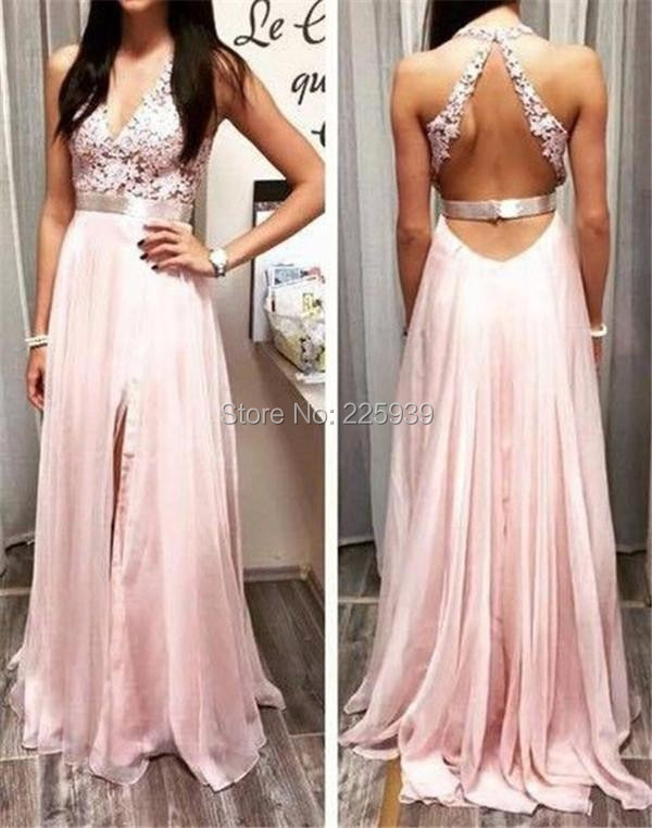 8eabd16baa1 New Arrival Sexy V Neck See Through Back Beautiful Appliques Top Full Length  Slit Front Long Blush Pink Prom Dresses Party Gowns-in Prom Dresses from ...