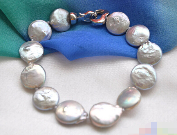 Бесплатная доставка 12688 серый монета браслет перлы пресной воды
