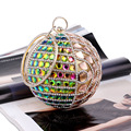 Luxury Colorful Diamonds Striped Evening Handbag Circular Ball Rhinestone Bride Women Clutch Wedding Banquet Shoulder Bag YM1110