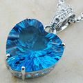 Huge Concave Cut Blue Simulated Topaz 925 Sterling Silver Pendant TE573