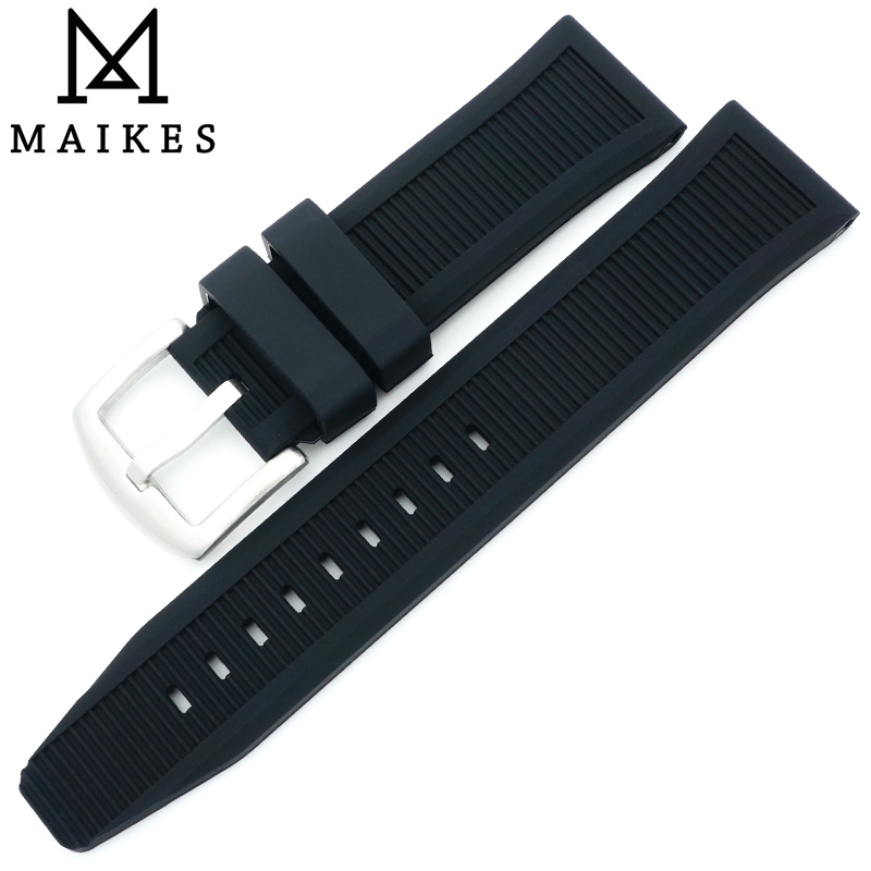MAIKES New Arrival High Quality 22mm Silicone Watch band Men Sports Dive Rubber Strap