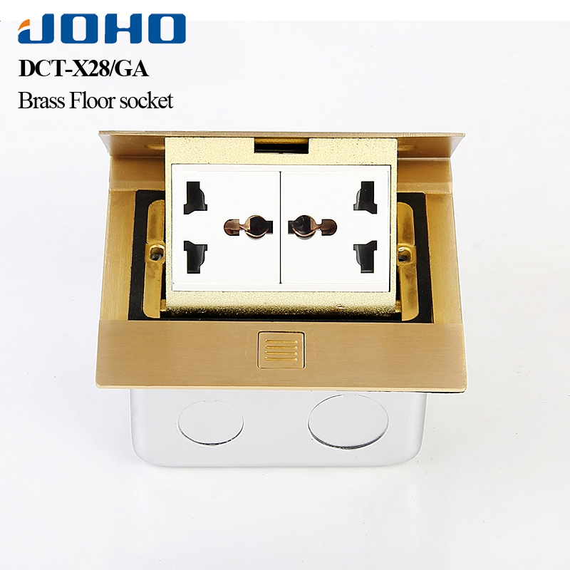 JOHO Brass Panel Slow Pop Up Floor Socket Box General Type With Double Universal Sockets 220V 10A Electrical Equipment