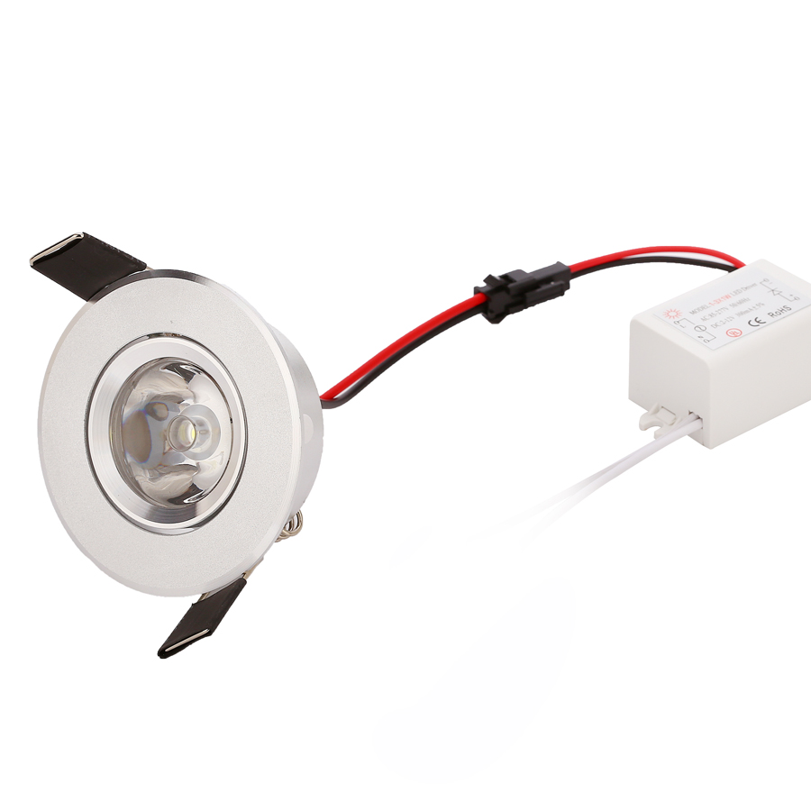 4pcs / lot bästa pris 1W 3W mini high power Inbyggd LED Downlight AC85v- 260v 110-330LM med LED Driver varm natur ren vit