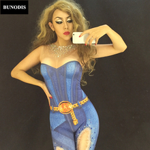 ZD015 Women Sex Jeans Painting Jumpsuit Nightclub DJ DS Singers Dancers Sparkling Crystals Bodysuit Party Costume Dance Clothing
