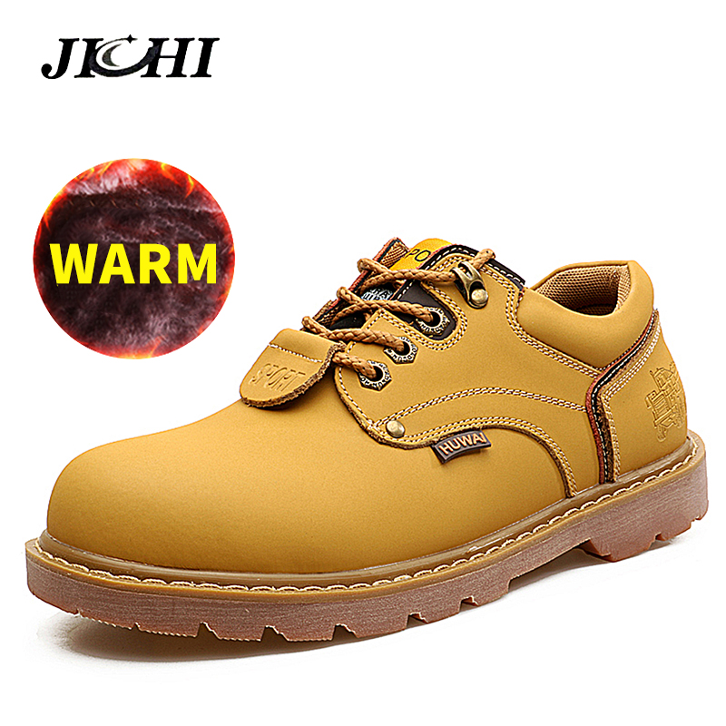 2018 Leather Men Ankle Work Boots Men Warm Snow Boots With Fur Classic Nubuck Leather Men Fashion Leisure Autumn Tooling Boots