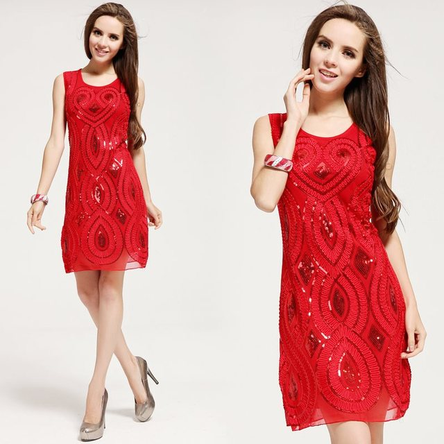 New 2016 paillette embroidery women summer dress festive red sequins dresses cocktail dress evening party dress free shipping