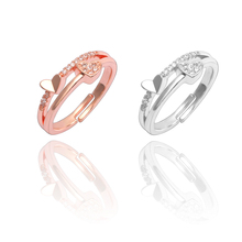 New Fashion Creative Jewelry Heart-Shaped Ring Temperament Girl Wedding Opening Adjustable Size Finger