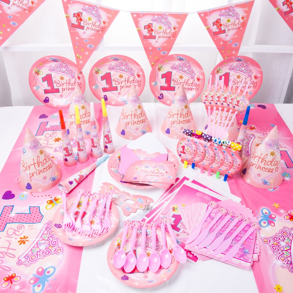 90pcs Baby Prince Princess Brithday party Decoration Luxury Kids Birthday Decoration Set 1st Birthday Theme Party