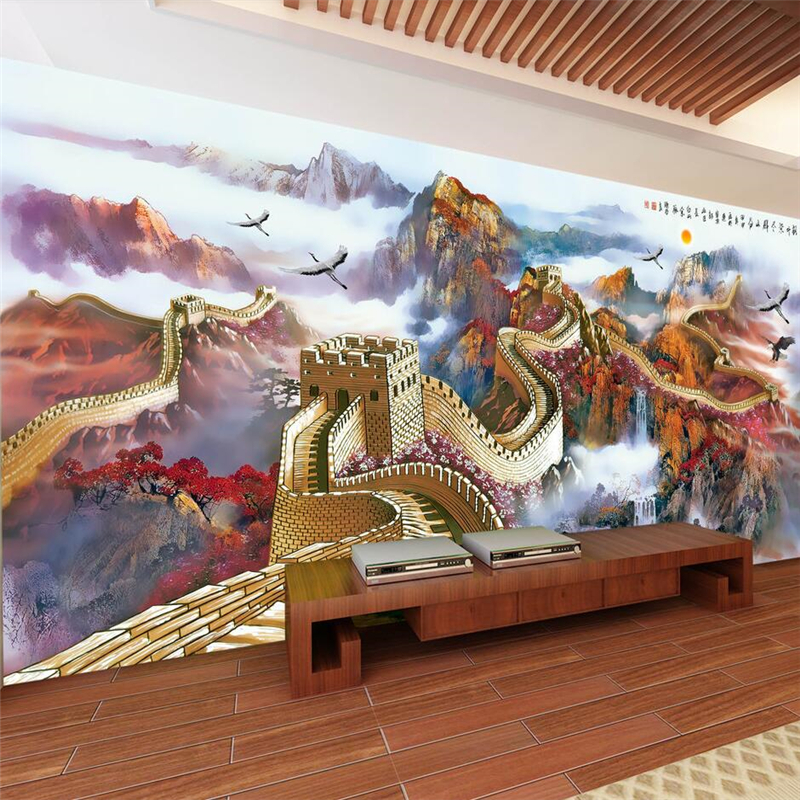Beibehang The Great Wall Chinese style landscape scenery magnificent mountain river wall custom wallpaper green wallpaper mural