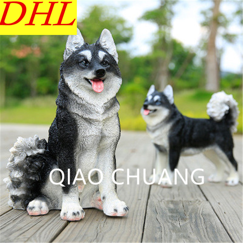 Garden Decoration Simulation Sled Dog Siberian Husky Sculpture Model Colophony Crafts Doll Home Furnishing Articles G1047 musician ludwig van beethoven western classical composer chill casting copper head sculpture colophony crafts decoration g1004