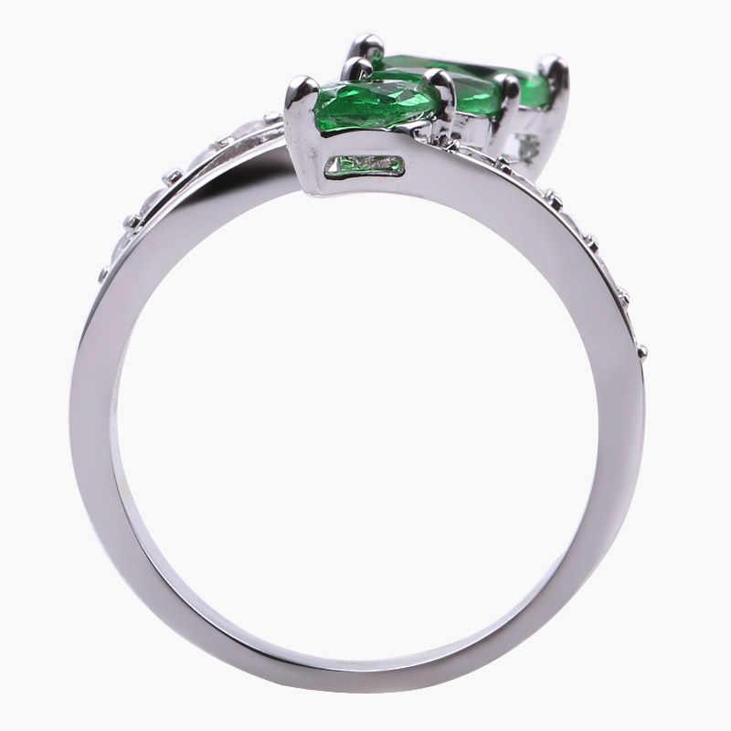 Очаровательные три ромбовидные Циркон Синий/Зеленый Огненный опал кольца для женщин Винтажная Мода белое золото заполнены камень кольцо безделушки подарки