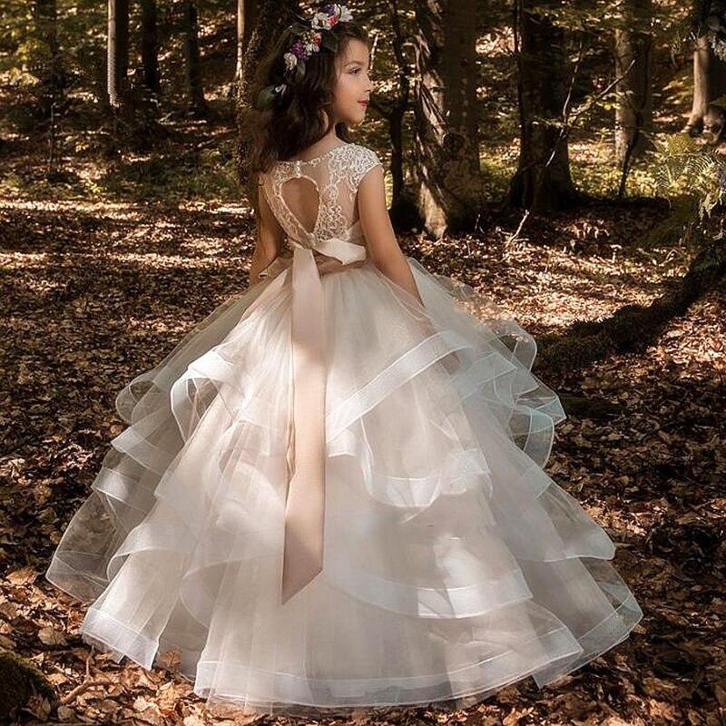 Для девочек в цветочек платья Элегантное шампанское с кружевной аппликацией без рукавов каскадные; Детский карнавальный костюм; Для держащ...