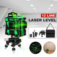 360 degree Rotation 12 Line 3D Green Light Laser Level Self Leveling 1 Battery Indoor Outdoor Measuring Tool with Stroage Bag