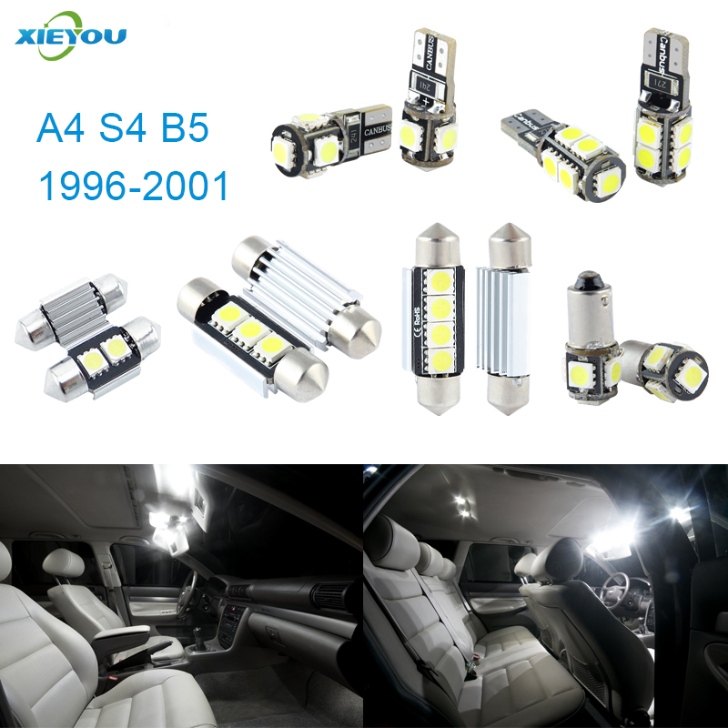 XIEYOU 13pcs LED Canbus Interior Lights Kit Package For Audi A4 S4 B5 (1996-2001) free shipping 60 17x a4 s4 b5 1998 2001 white led lights interior package kit canbus