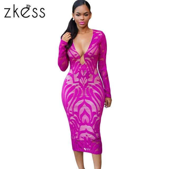 dec980b841 ZKESS 2017 New Deep Fuchsia Lace Nude Low Neckline Midi Dress LC60837 Plus  Size V Neck Vintage Dress