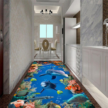 underwater world Flooring Murals Custom Photo Wallpaper 3D floor Wallpaper Bathroom Self-adhesive PVC Waterproof Wallpaper цена 2017