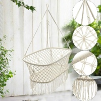 90X87X57CM White Cotton Baby Garden Hanging Hammock Baby Cribs Cotton Woven Rope Swing Patio Chair Seat Bedding Baby Care