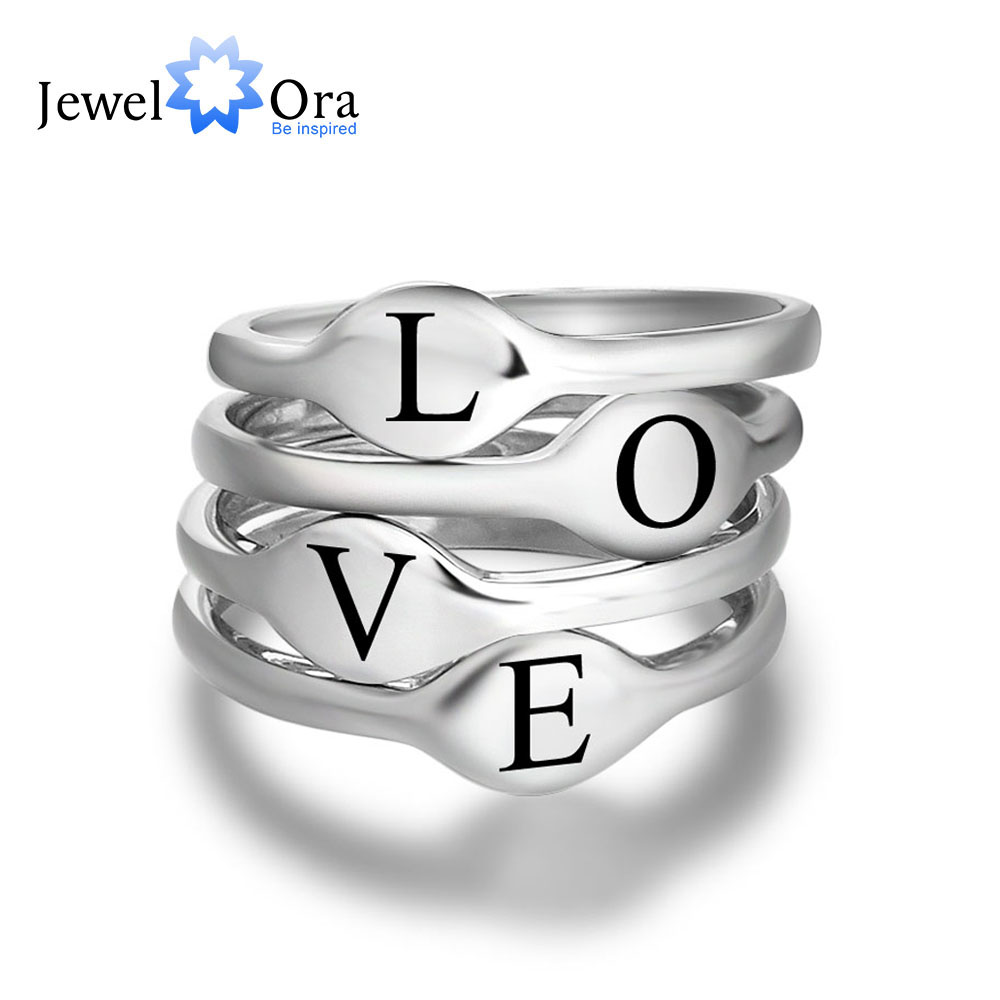 Stackable Ring Jewelry Women for One-Pcs Engrave-Name Custom Initial Custom