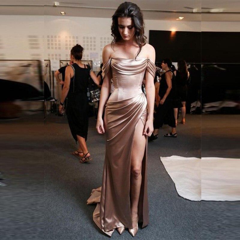Champagne Satin Straight Evening Dress 2018 Strapless Pleat Cap Sleeve Sexy Side Split Floor Length Long