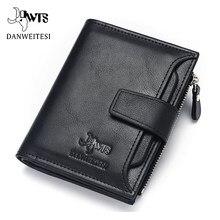 Dwts carteira masculina de couro, carteira masculina, bolsa de mão de couro para dinheiro