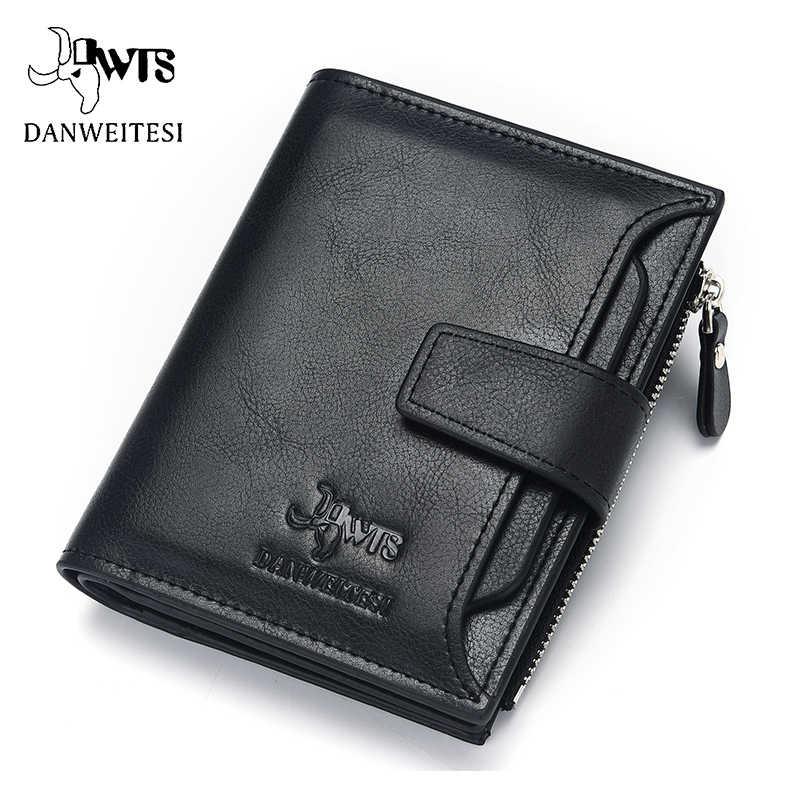DWTS merk Portemonnee mannen leren mannen portefeuilles portemonnee korte mannelijke clutch lederen portemonnee heren geld tas kwaliteitsgarantie