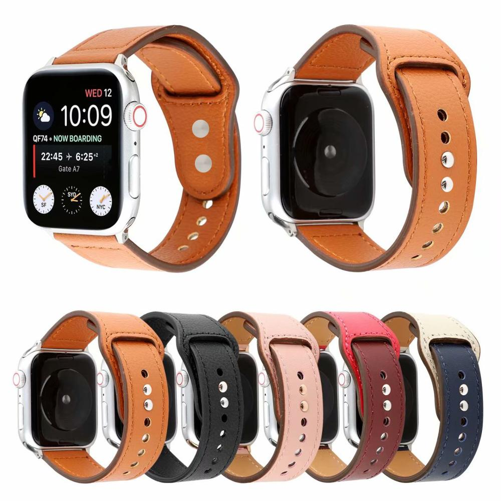 Genuine Leather Band For Apple Watch 44mm 40mm 42mm 38mm Sport Strap Wristband For Iwtach Series 5 4 3 2 1 Bracelet Accessories
