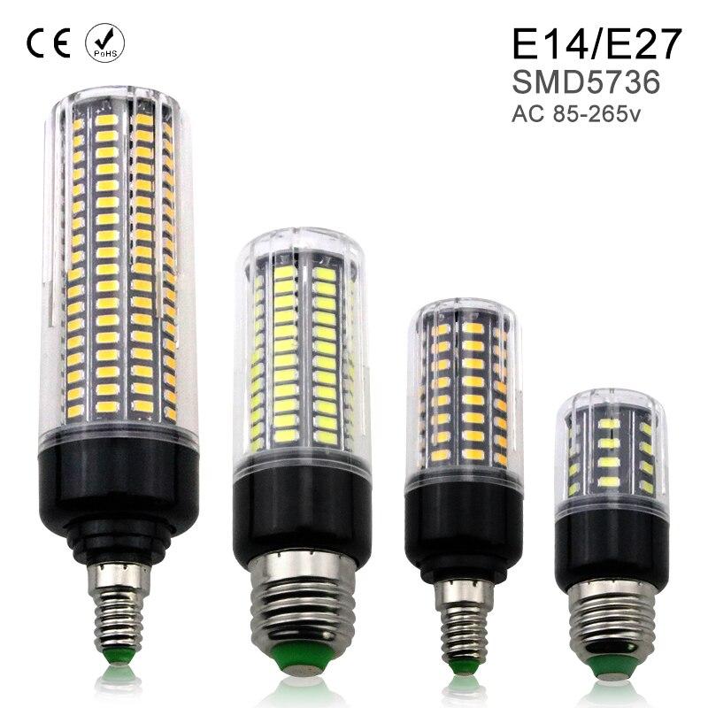 E27 LED Bulb Corn Lamp E14 220V 3.5W 5W 7W 9W 12W 15W 20W led Light 110V Aluminum Energy saving Bulbs 5736 Smart IC No Flicker