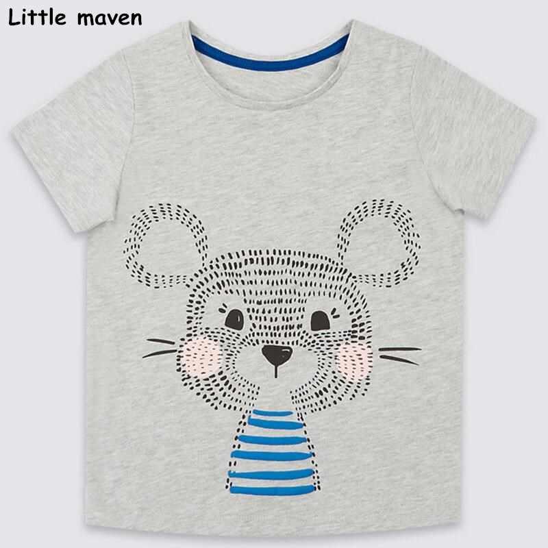Pouco maven das crianças 2018 verão do bebê do menino/menina roupas curtas cinza de manga curta t camisa animal print Algodão marca t tops 50960