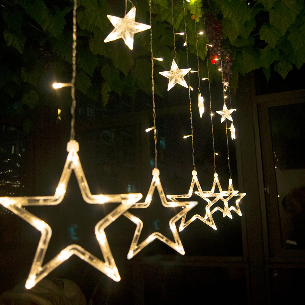 Led Christmas Lights 110v 220v Plug Fairy Star Curtain String Light Holiday For Party New Year Decoration In From Lighting